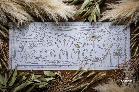 塗り絵が楽しめる【CAMMOCオリジナル手ぬぐい】キャンプやおうちで大活躍!